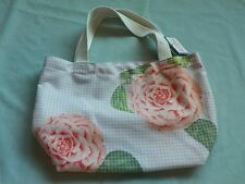 Bath & Body Works Tan Plaid Gingham Rose Floral In Full Bloom Tote Bag New NWT