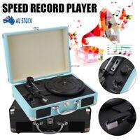 3 Speed Retro Turntable vinyl Record Player Bluetooth RCA Output Speaker AU Plug