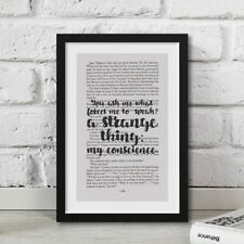 Funny Les Miserables Quote Printed Onto Real Book Page Artwork Framed