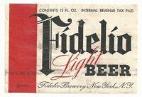 1930's Fidelio Light Beer IRTP Label - New York, NY