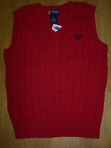 NWT CHAPS RED CABLE KNIT V-NECK SWEATER VEST Teen Boy SIZE XL 18-20
