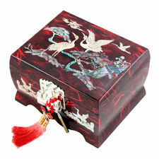 MOP Inlay Red Lacquer Wood Ring Music Jewellery Lock Key Trinket Holder Case Box