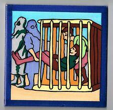 Don Quijote Quixote Cage Scene Vintage Handpainted Tile Cedolesa Spanish Spain