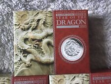 2012 Australian Lunar Year of the Dragon 1oz Silver Proof Coin Boxed with COA #B