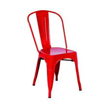 NEW! SET OF 2 STEEL STACKABLE DINING CHAIR-RETRO TOLIX-STYLE SEAT -CASSANDRA RED