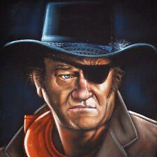 John Wayne Civil War TRUE GRIT Original Oil Painting Art Black Velvet A214r