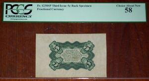 FR.1238 SP WMB (3rd Issue) 5 cent BACK SPECIMEN (PCGS - Ch.AU 58) SCARCE
