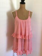 Oscar De La Renta Pink Label Pink Cottage Gardens Sheer Babydoll Gown, Size S