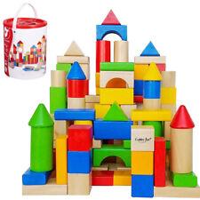 100Pc Wooden Building Blocks Kids Childrens Construction Toy Bricks Set With Tub