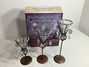 Metal Stands With Acrylic Crystal Holders & Beads Tealight Candle Holder Decor
