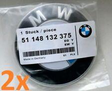 2x BMW emblem 82mm FRONT + BACK Blue White hood badge logo OEM 51148132375