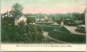 "Vintage OLIVIA, Minnesota Postcard ""H.P. NELSON'S RESIDENCE"" Hand-Colored c1910s"