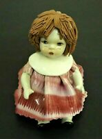 ZAMPIVA PORCELAIN FIGURINE OF LITTLE GIRL/DOLL PINK DRESS  MADE IN ITALY