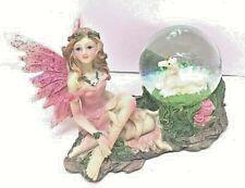 "Pink Fairy 5"" x 3 1/4"" x 3 3/4"" Polyresin Unicorn Snow Globe Figurine Gift"