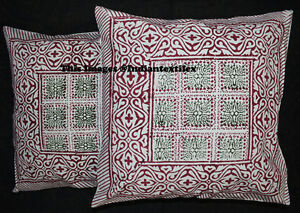 Set Of 2 Indian Cushion Pillow Cover Ethnic 100% Cotton Pillow Decor Handmade