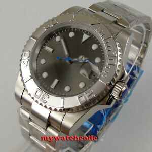 40mm BLIGER gray dial ceramic bezel NH35 Automatic mens Watch sapphire glass