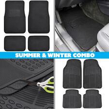 Winter Summer Combo Rubber Floor Mats & Carpet Floor Mats 2 Full Sets - Black