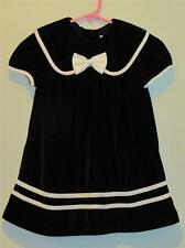 Emily Rose Navy Blue Soft Velvet Bishop Dress w/ White Satin Trim, Sz 24 Months