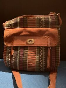 FOSSIL  Brown Suede And Canvas Crossbody Purse, Strap, Key, Adjustable Strap