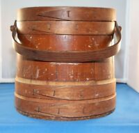 """Antique Primitive Wooden Firkin Sewing Bucket with Lid and Shelf 10"""" x 10"""""""