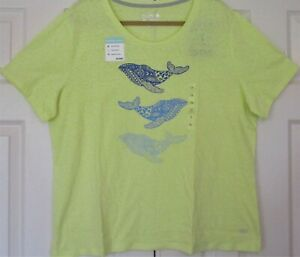 Women's Plus Size 1X Reel Legends Top Yellow Whale Themed NWT
