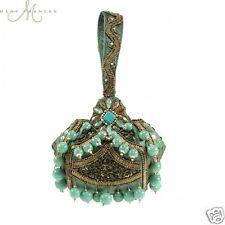 Mary Frances Turq Gold Adore Ball Beaded Soft Handle Drop Wristlet Handbag New