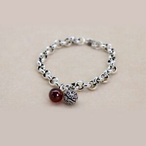 Women  925 Sterling Silver hollow bell chain Agate Ball Beaded Charm bracelet