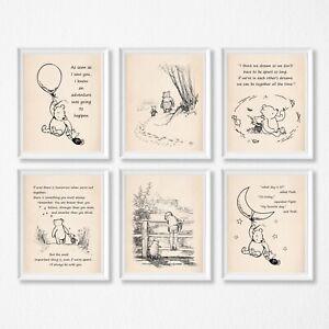 Winnie the Pooh Nursery Bedroom Decor Kids Wall Prints A5 or A4