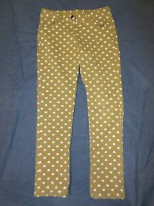 Girls Pants by HANNA ANDERSSON - Sz 130 or 8 - Tan/Yellow w/ HEARTS - Fall/Wntr