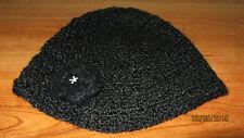 Women's Black Rib Knit Crochet Flower Winter Spring Fall Casual Dress Beanie Hat