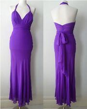 TEMPERLEY LONDON Silk Purple Sash Tie Halter Neck Gown Maxi Dress Sz UK 8 US 4