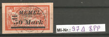 Memelgebiet Mi-Nr.: 97 sauber auf Briefstück BPP geprüft