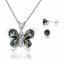 Mystic Rainbow Topaz Butterfly Necklace & Brilliant Stud 925 Silver Earring Set