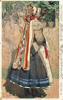 1911 CZECH BRIDE & FOLK COSTUME POSTCARD NEVESTA POSTCARD - from Prague to Perth