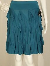 INC International Concepts~NWT!!~PEACOCK BLUE TIERED RUFFLE KNIT SKIRT SZ:10