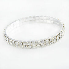 STRETCH Tennis Bracelet 2 Rows Ladies CZ White Gold Filled Wristband Wholesale