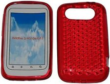 Pattern Soft Gel Jelly Case Protector Cover For HTC Wildfire S a510e g13 Red UK