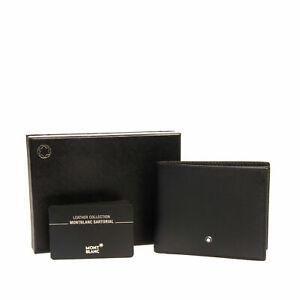 MONTBLANC Leather Bifold Wallet Black Saffiano Panel Logo Detailing