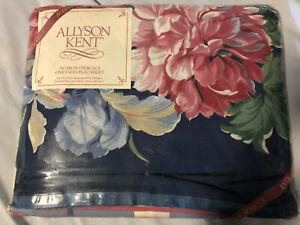 Vintage Mervyn's Allyson Kent Blue Floral TWIN FLAT SHEET Shabby Cottage NIP