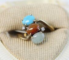 Diamond Ring Cluster Retro Luxury (5) Vintage 14K Gold Jade Turquoise Citrine