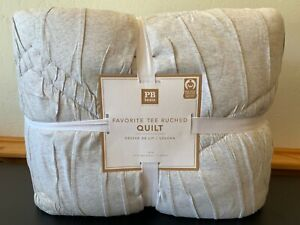 Pottery Barn Teen Favorite Tee Ruched Quilt XL Twin Grey New With Tags