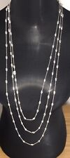 SILVER BEADS NECKLACE SILVER TONE 3 STRANDED LONG SHINY NEW