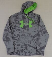 UNDER ARMOUR LOOSE Mens Sz Medium Gray Camo Big Logo Fleece Neon Green Hoodie