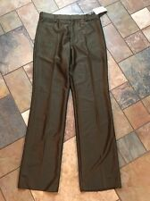 Nwts!!! Men's Bronco West Brown Flat Front pants Sz 37 Inseam 38 Unfinished