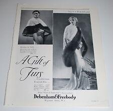Vintage 1935 Debenham & Freebody Furs Print Ad