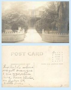 Mystery Mansion House Baker Street California RPPC Fence Postcard Architecture