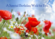 FEMALE LADIES HAPPY BIRTHDAY GREETINGS CARD FLOWERS POPPIES - A SPECIAL WISH