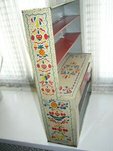 Vintage, 1950s Ideal Child's Pennsylvania Dutch Tin Display Cabinet or Hutch