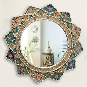 "Decorative Round Mirror wall 17.7in, ""Floral Paradise"", Turquoise Accent Mirror"