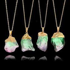 Natural Stone Crystal Pendent Necklace Green&Purple Origin Stone Irregular